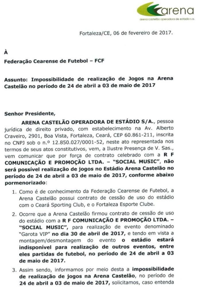 Arena Castelão, Federação Cearense, estadual, Domingão (Foto: Divulgação)