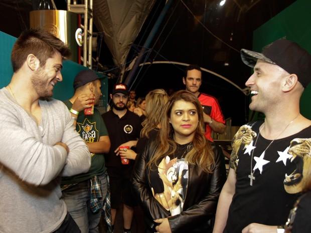 Rodrigo Godoy, Preta Gil e Paulo Gustavo em show no Rio (Foto: Tarso Ghelli/ Divulgação)