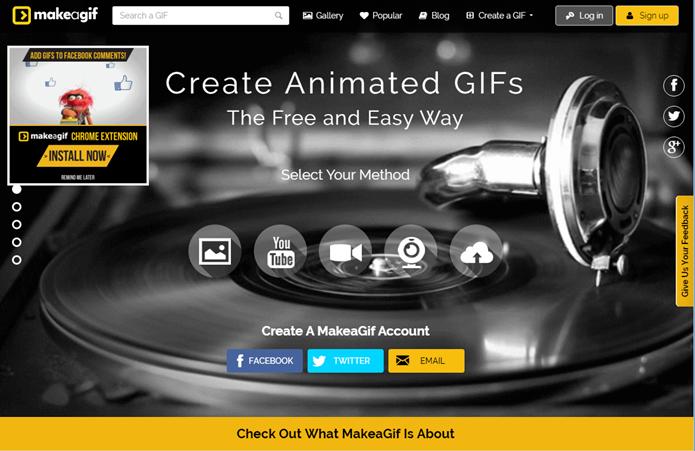 Um dos mais completos sites para a criação de GIFs (Foto: Felipe Alencar/TechTudo)