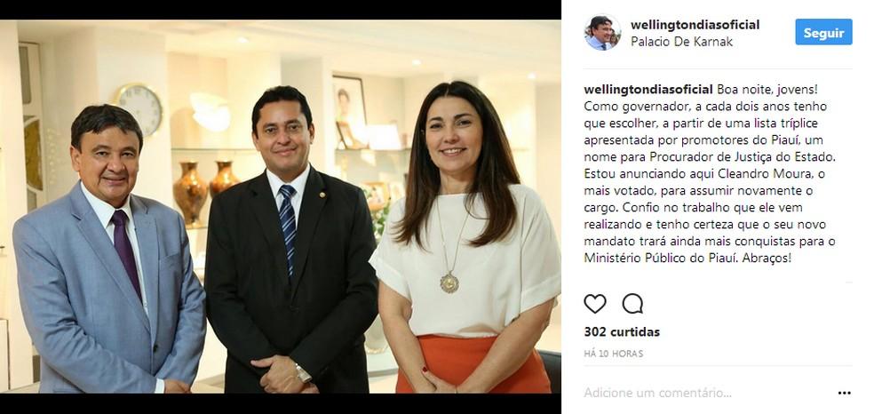 Governador confirmou Cleandro Moura para o cargo de procurador-geral de Justiça (Foto: Reprodução/Instagram)