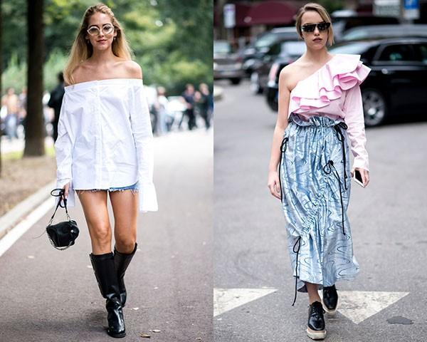 As blusas podem deixar os dois ombros à vista ou um só (Foto: Imaxtree)