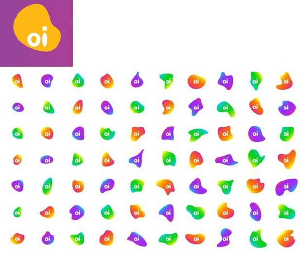 Tradicional logotipo amarelo da Oi dá lugar a diferentes formas e cores. (Foto: Divulgação)