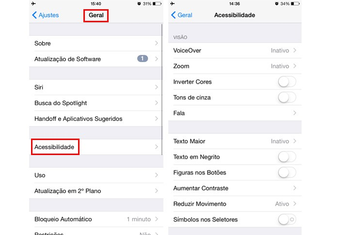 iphone acessibilidade (Foto: Gabriella Fiszman/ TechTudo)