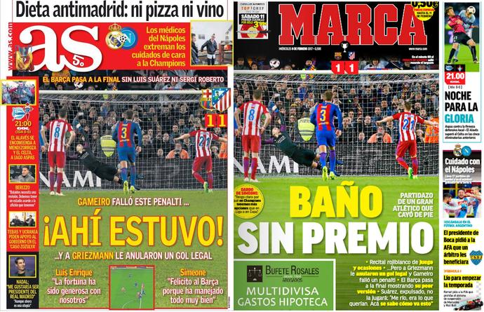 Atlético de Madrid capas jornais (Foto: Reprodução)