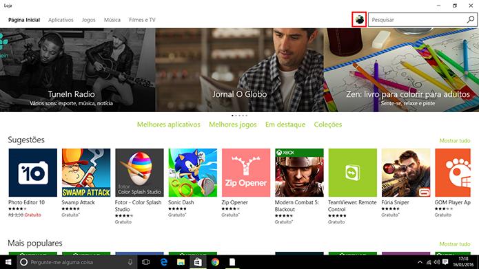 Windows 10 possui atalho para baixar atualizações na foto do usuário (Foto: Reprodução/Elson de Souza)