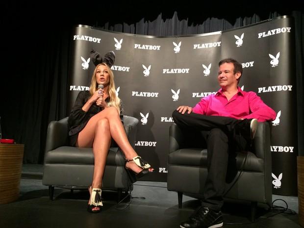 Luana Piovani e André Sanseverino, um dos criadores da nova editora da Playboy no Brasil (Foto: Darlan Alvarenga/G1)