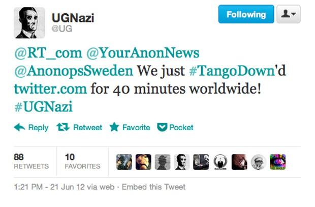 No Twitter, grupo hacker assumiu autoria de ataque ao Twitter, que ficou fora do ar na tarde desta quinta-feira (21) (Foto: Reprodução)