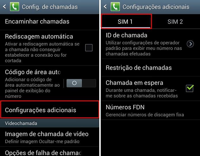 Selecione o chip que deseja configurar bloqueio de número e chamadas (Foto: Reprodução/Paulo Alves)