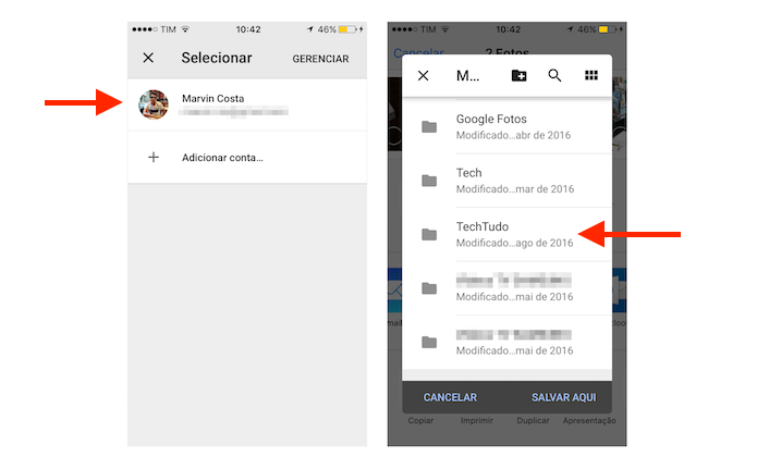 Opção para selecionar uma pasta do Google Drive para salvar fotos do iPhone (Foto: Reprodução/Marvin Costa)