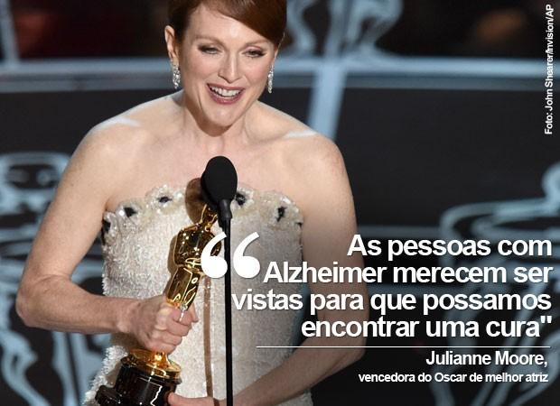 Julianne Moore recebeu o Oscar de melhor atriz após ser indicada cinco vezes; o prêmio veio pelo filme 'Para sempre Alice', e a atriz aproveitou para defender a visibilidade dos pacientes com Alzheimer (Foto: John Shearer/Invision/AP)