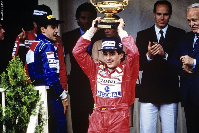 Senna no Grande Prêmio de Mônaco, em 1990, quando conquistou o primeiro lugar (Foto: Norio Koike)