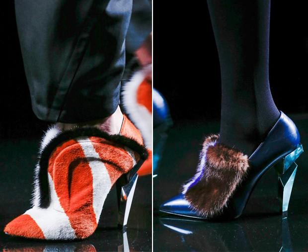 Os sapatos da marca italiana comandada por Lagerfeld também não escaparam (Foto: Reprodução)