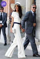 Look do dia: Amal Alamuddin usa conjunto sóbrio e chapéu em Veneza