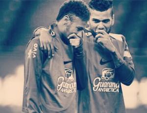 Neymar e Daniel Alves, treino Seleção, Pequim (Foto: Reprodução / Instagram)