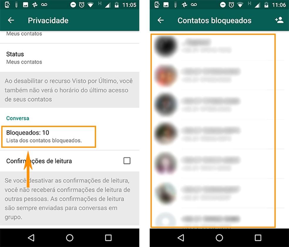 Acesse a lista de contatos bloqueados no WhatsApp (Foto: Reprodução/Barbara Mannara)