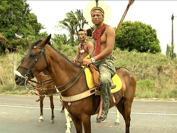Indígenas interditam BR-316 em Bom Jardim, MA (Foto: Reprodução/ TV Mirante)