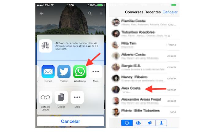 Iniciando o compartilhamento de um local pesquisado no Google Maps com um contato do WhatsApp no iPhone (Foto: Reprodução/Marvin Costa)