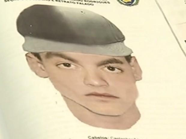 Retrato falado do suspeito de matara Amanda Heloiza Vaz dos Santos em Rio Verde, Goiás (Foto: Reprodução/TV Anhanguera)