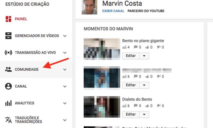Caminho para acessar as opções de comunidade nas configurações de um canal no YouTube (Foto: Reprodução/Marvin Costa)
