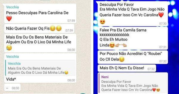 O homem mandou mensagens no grupo da Whatsapp da família da estudante (Foto: Carolina Dalla Vecchia/ Arquivo pessoal)