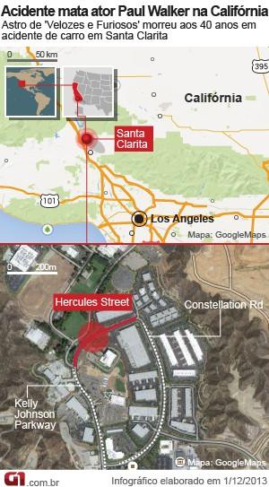 Mapa do acidente de Paul Walker (Foto: Arte/G1)