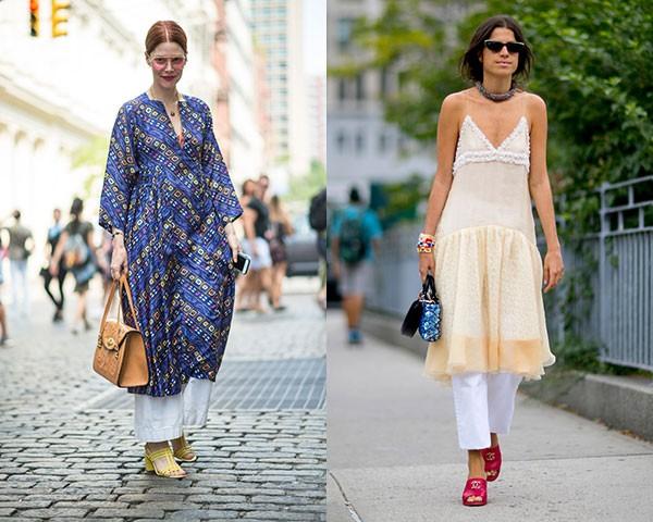 Vestidos com calças foram um destaque na moda de rua (Foto: Imaxtree)