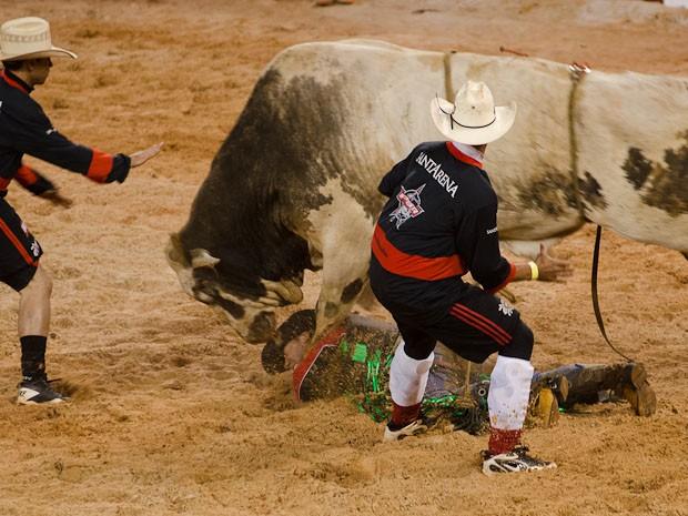 Competidor cai do touro e é atropelado na sequência em Barretos (Foto: Érico Andrade/G1)