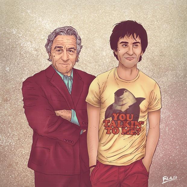 Robert De Niro também foi homenageado por Fulaleo. Versão jovem do ator usa camiseta com frase do filme 'Taxi Driver' e personagem de 'O espanta tubarões' dublado por De Niro  (Foto: Behance/Fulaleo)