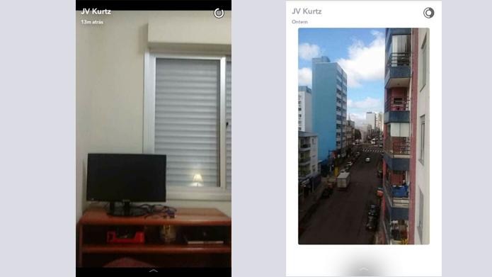 Histórias antigas (direita) possuem borda diferente para indicar snaps já feitos (Foto: Reprodução/Snapchat)
