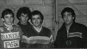 Galvão, Reginaldo Leme e Ayrton Senna na Bélgica (Foto: Reprodução)