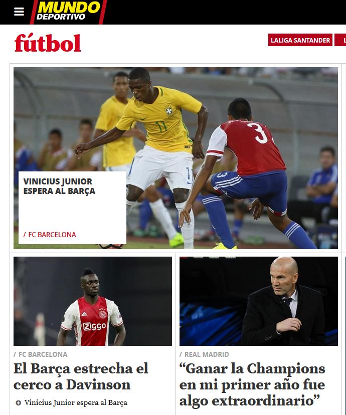 Mundo Deportivo dá destaque para Vinicius Junior (Foto: Reprodução)