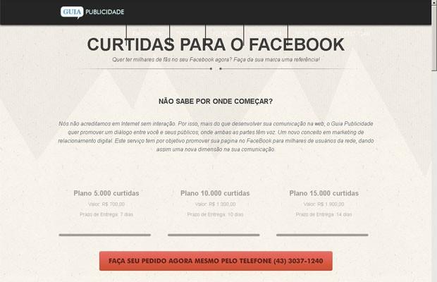 Site vende pacotes de curtidas e seguidores nas redes sociais (Foto: Reprodução/ Internet)