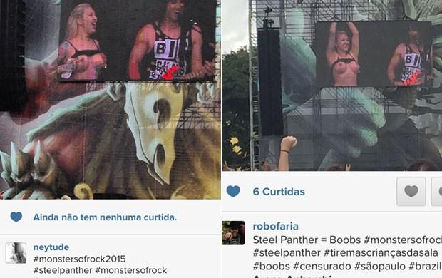 Mulher mostra seios durante show do Steel Panther no Monsters of Rock, em São Paulo (Foto: Reprodução/Instagram)