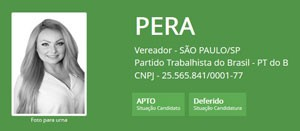 A ficha de Pera no TSE (Foto: Reprodução/TSE)