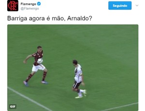 Flamengo, via Twitter, reclamou do pênalti marcado para o Vasco (Foto: Reprodução/Twitter)
