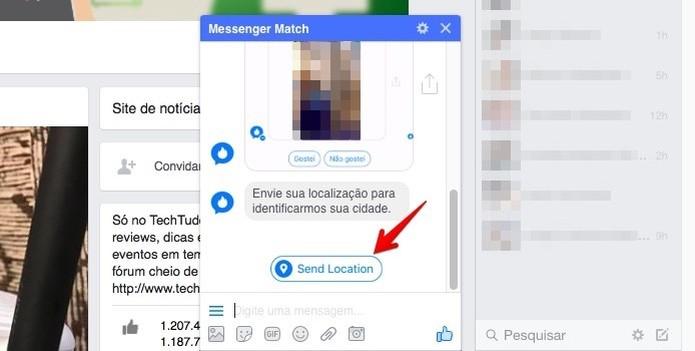 Forneça a sua localização ao Face Match  (Foto: (Foto: Reprodução/Helito Bijora) )