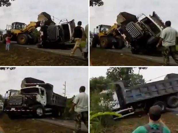Quando tudo parecia dar certo, caminhão sai da estrada descontrolado. (Foto: Reprodução)