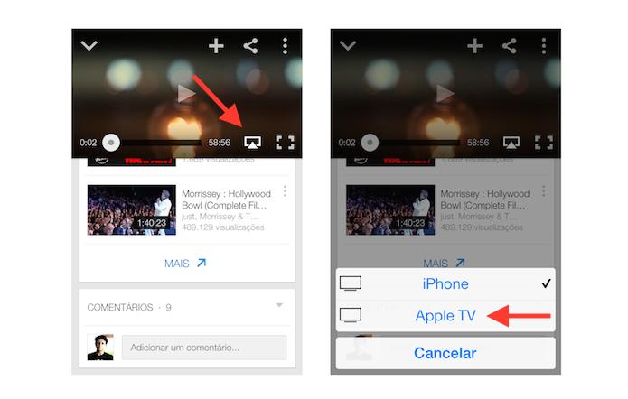 Espelhando vídeos do Aplicativo YouTube com a Apple TV via AirPlay (Foto: Reprodução/Marvin Costa)