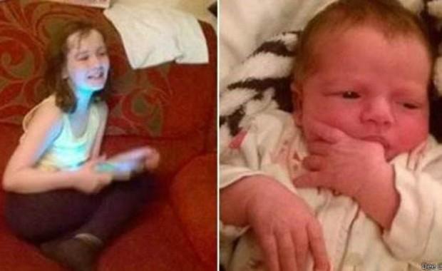 Trinity Culley, de dez anos, pegou toalhas e ajudou mãe a dar a luz à irmã enquanto a família esperava uma ambulância para a maternidade  (Foto: BBC)