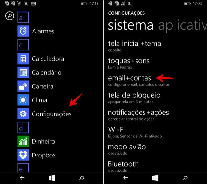 Acesse as configurações do Windows Phone (Foto: Reprodução/Helito Bijora)
