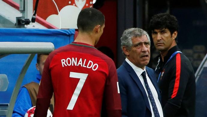 Cristiano Ronaldo e o técnico Fernando Santos (Foto:  REUTERS/Grigory Dukor)