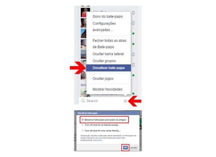 Desativando o bate-papo do Facebook (Foto: Reprodução/Lívia Dâmaso)