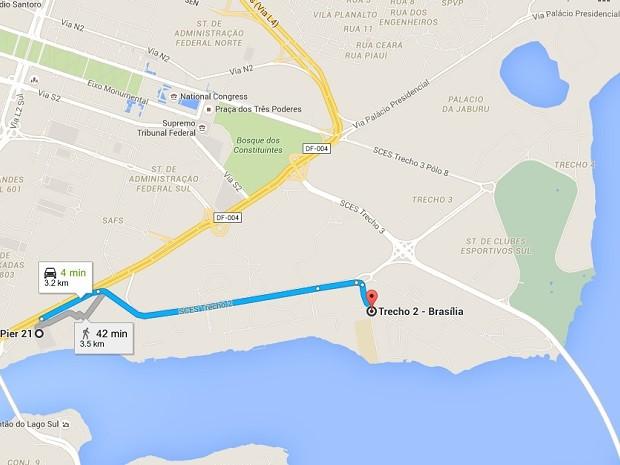 Mapa mostra trajeto entre o Trecho 2 do Setor de Clubes Sul, onde mulher foi rendida por ladrão, e local onde veículo foi interceptado (Foto: Google/Reprodução)