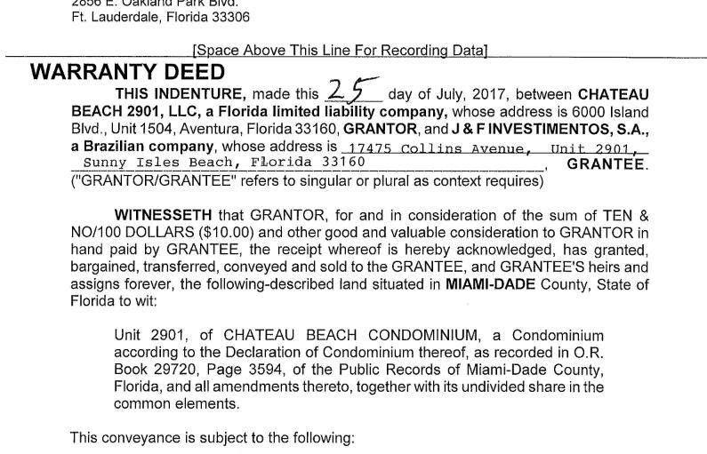 Documento de compra do imóvel em nome da J&F (Foto: Receita Americana )