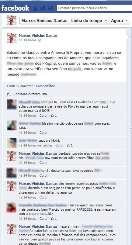 Zagueiro do América, Marcos Vinícius, amaeaça jogador do Propriá (Foto: Reproduação / Facebook)