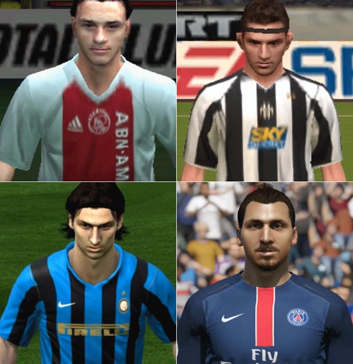 Ibrahimovic: mudanças de clubes, cabelos e visuais (Foto: Reprodução/Thiago Barros)