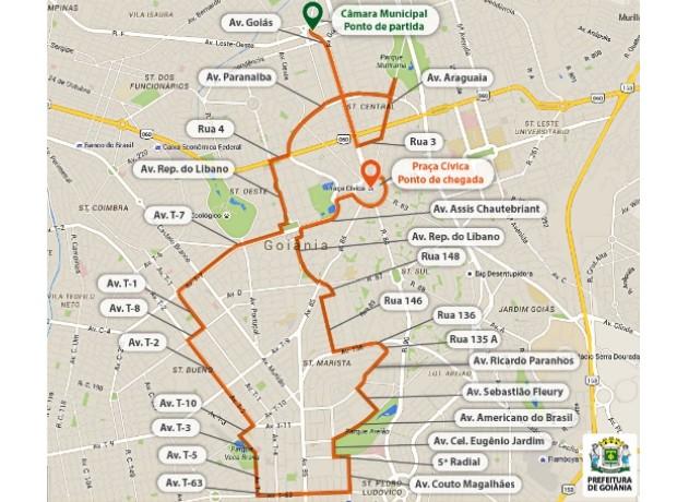 Passagem da tocha olímpica causa alterações no trânsito de Goiânia, Goiás (Foto: Divulgação/Prefeitura de Goiânia)