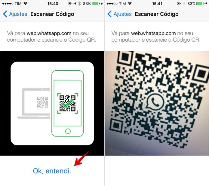 Ativando o WhatsApp Web no iPhone (Foto: Reprodução/Helito Bijora)
