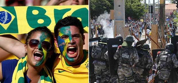 Copa das Confederações: Brasil e México no Castelão, em Fortaleza (Foto:  Clive Mason/Getty Images e AP Photo/Andre Penner)