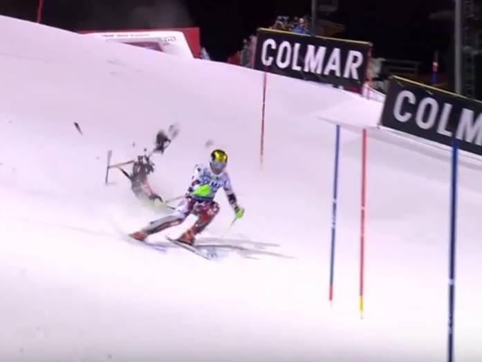Drone quase atinge esquiador em competição (Foto: Reprodução)